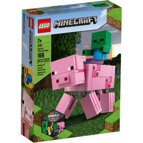 LEGO Minecraft 21157 Velká figurka: Prase s malou zombie